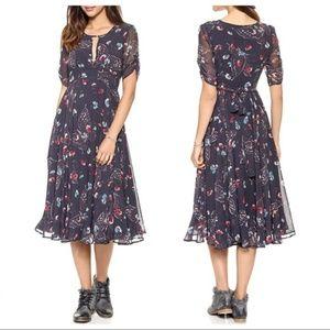 Free People Navy Bonnie Midi Dress Size 12